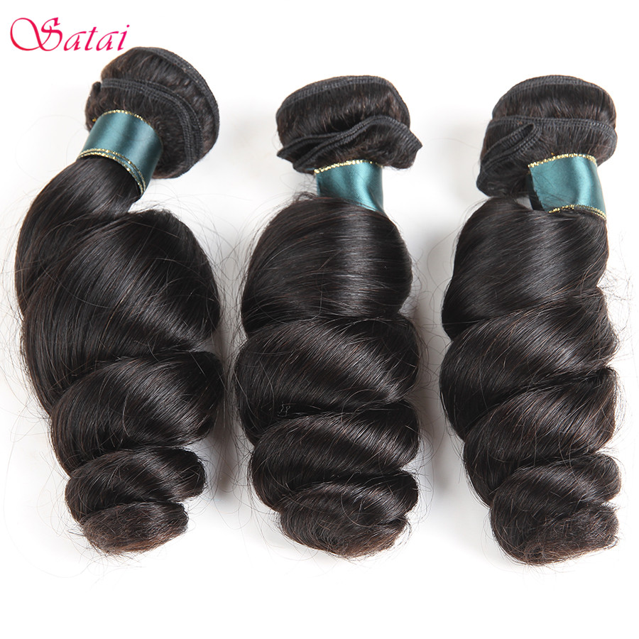 SATAI Loose Wave Brasilian Hair Weave Bundles Human Hair 3 Bundles - Menneskelig hår (for svart)