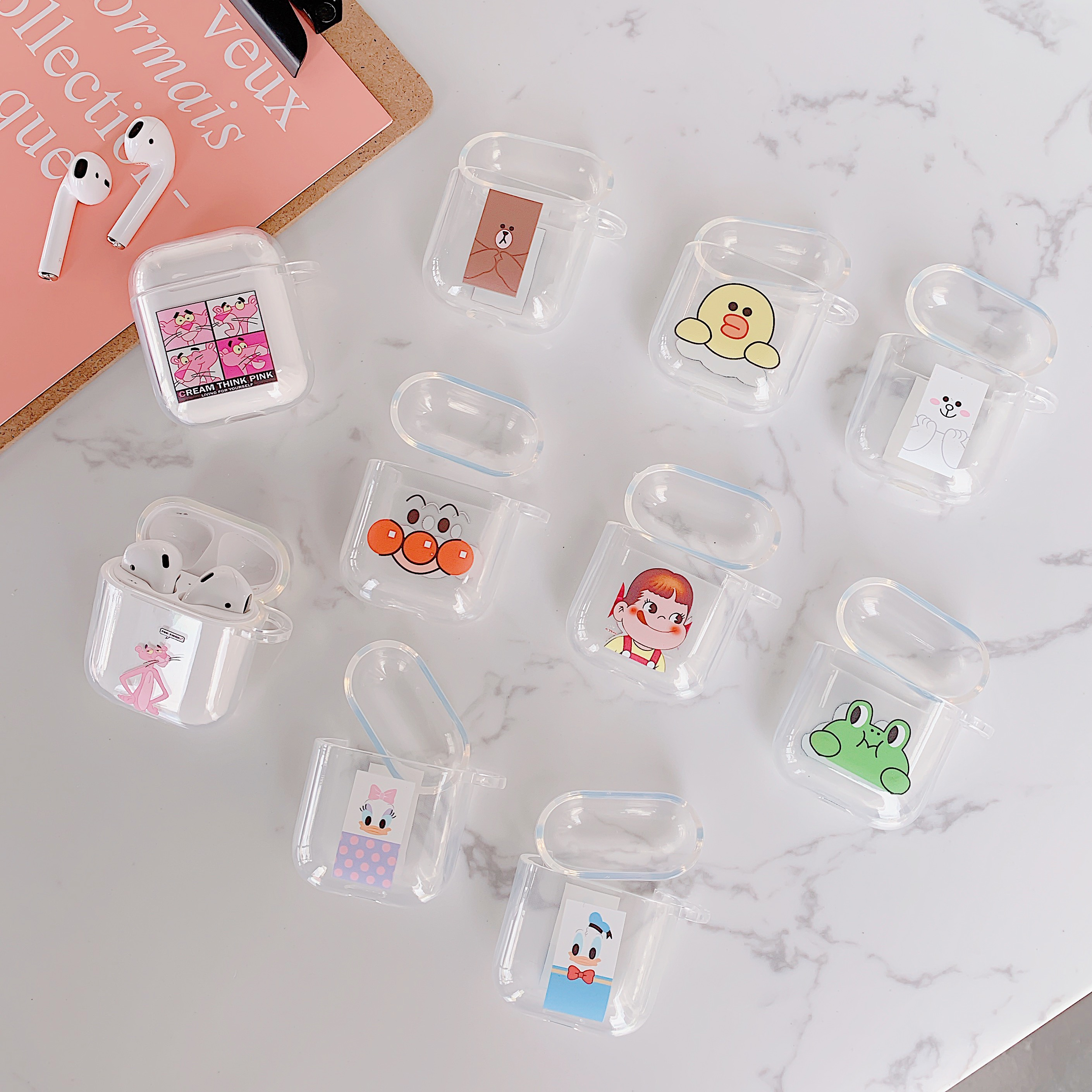 Cartoon Pink Panther and animals Wireless Bluetooth Earphone Cute Case For Apple AirPods Silicone Charging lucency