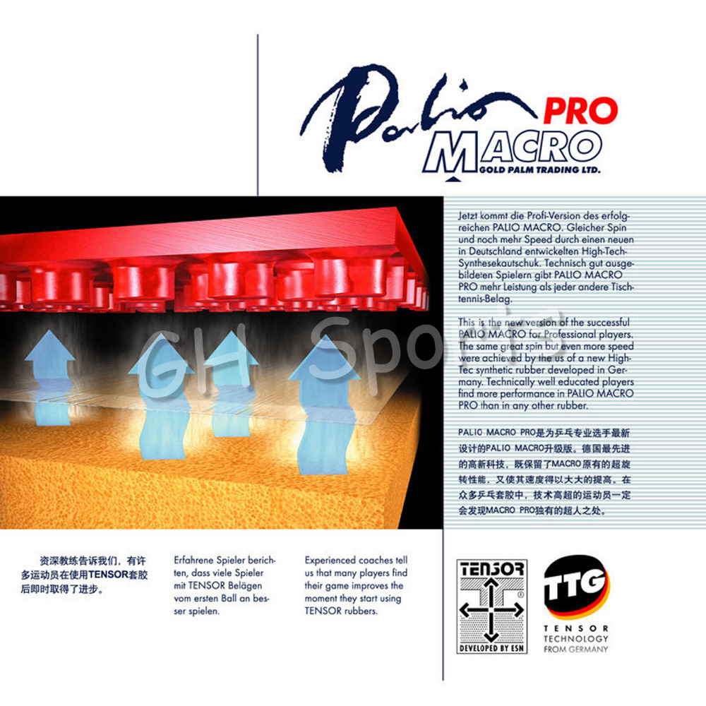Palio MACRO Pro Pips-In Table Tennis (PingPong) Rubber With Sponge [playa pingpong] andro revo fire pips in table tennis pingpong rubber with sponge