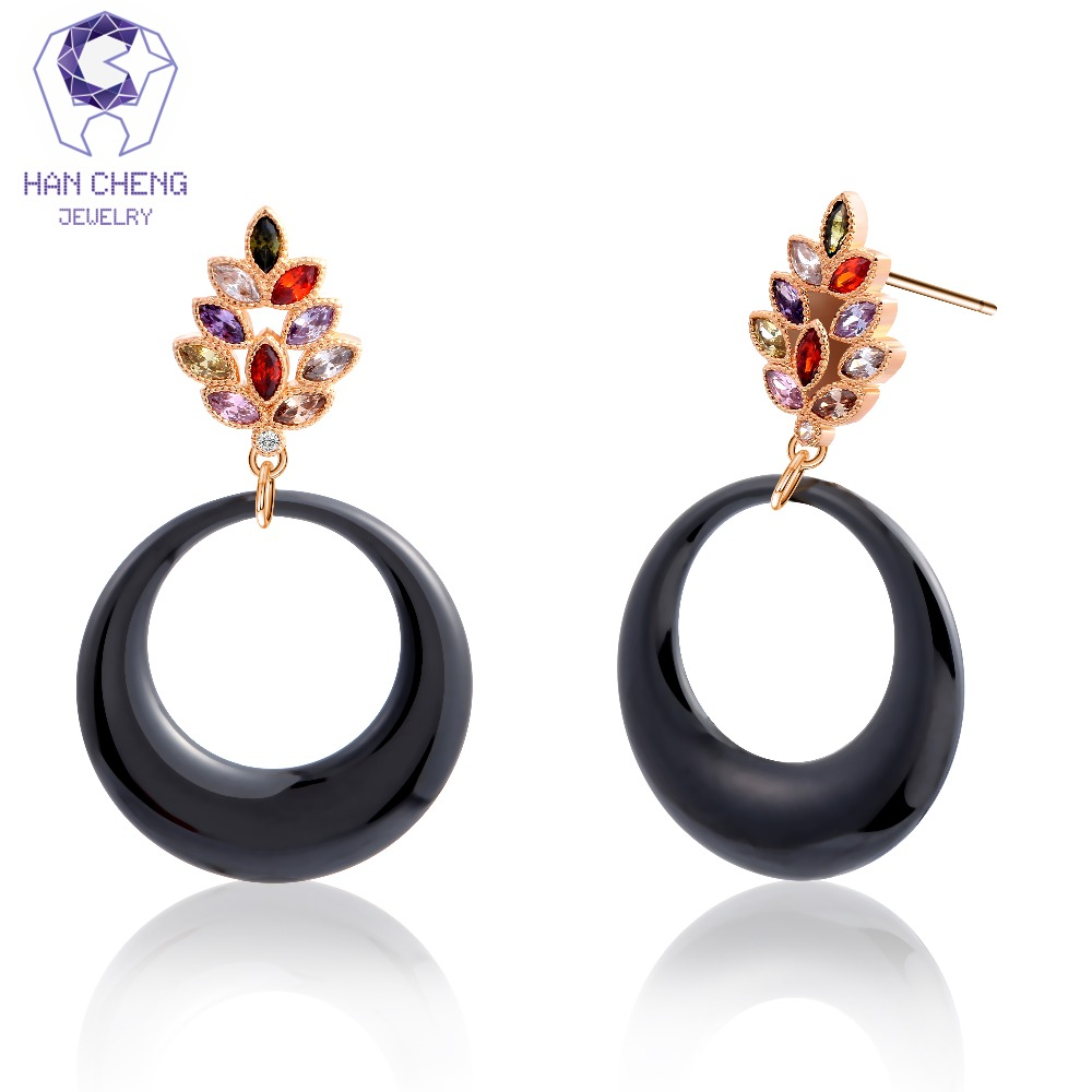 HanCheng New Charm Leaf Golden Nail Dangle Hanging Round Ceramic ...