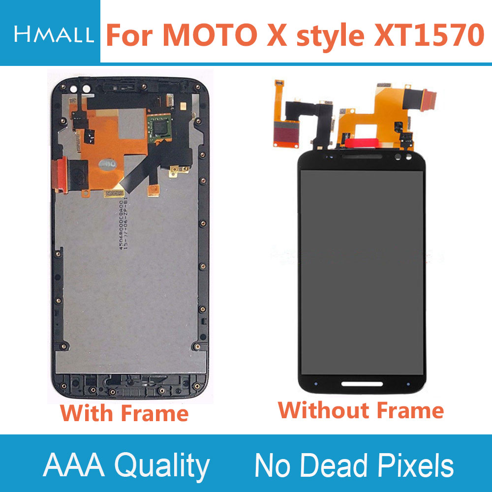For Motorola Moto X Style LCD Display Touch Screen Digitizer with Frame Assembly Replacement Black/White For MOTO X Style XT1570  5pcs lot for motorola moto x style x3s x3 style xt1570 lcd display touch screen digitizer assembly with frame free dhl