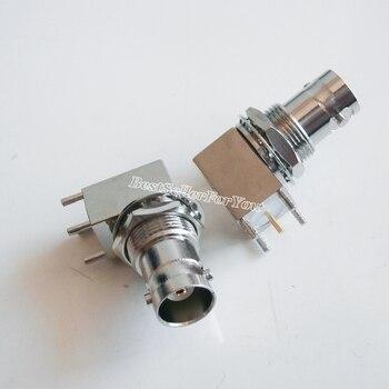 10Pcs BNC female Jack bulkhead 90 degree nut bulkhead solder PCB mount right angle connector