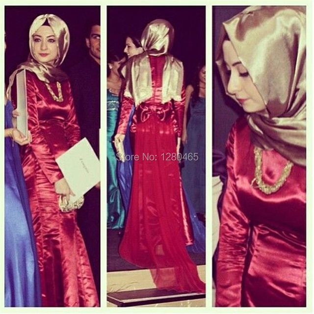Mermaid Long Red Hijab Evening Dress Prom Dress Long Sleeve with Bow Back Vestidos  Largos de Noche 79af288aacaf