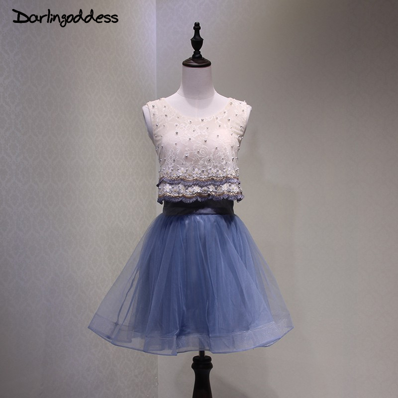 Cocktail Dresses Navy Blue Short Elegant A Line Flowers Pearl Women New Arrival Special Occasion Dress Cocktail Party Dress 2017