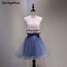Коктейльные платья Темно-синие Короткие Элегантные линии цветы жемчужина Для женщин Новое поступление специальные Нарядное платье коктейльное вечернее платье 2017