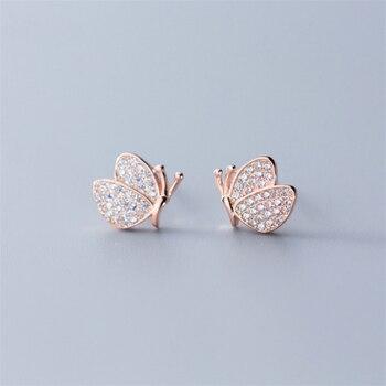 5660fbd8bbb0 NEWBUY Real 925 plata esterlina Micro Pave Cubic Zirconia pendiente para  las mujeres Rose oro Color plata del perno prisionero de la mariposa