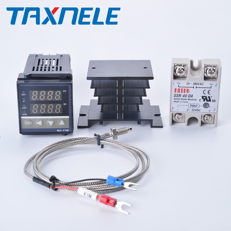 Цифровой ПИД-регулятор температуры, стандартный термостат Рекс C100 + реле SSR 40DA + зонд термопары K 1 м RKC