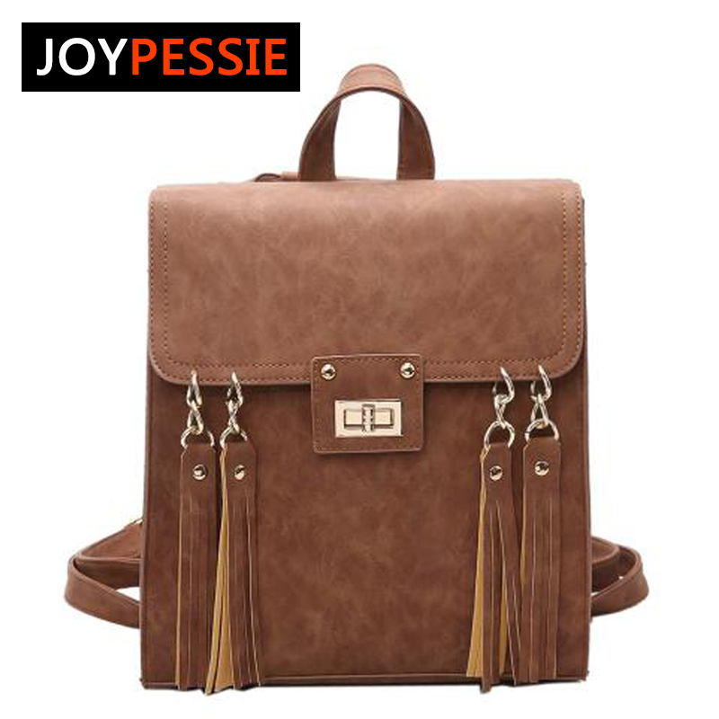 JOYPESSIE School Bag Mochila Tassel Womens Backpacks Lady Bag Female Backpacks Travel Bag Women Designer Vintage