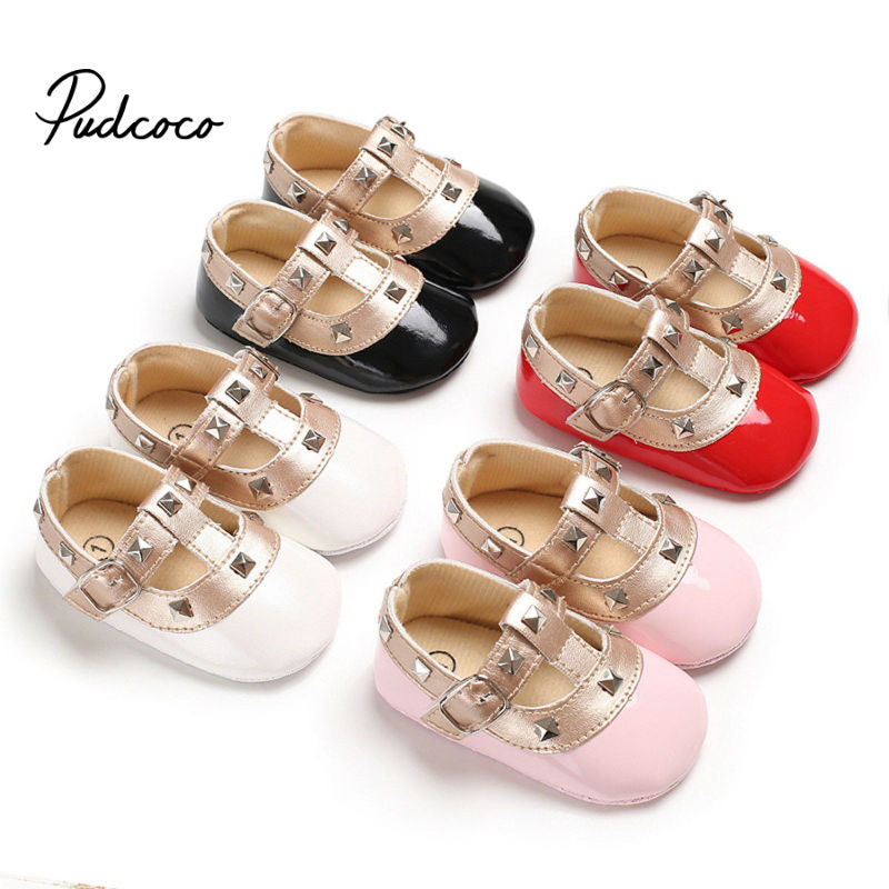 2019 New Girls Leather Shoes Spring Autumn Inside 0-18 Months Child Girls Princess Shoes Fashion Diamond Girls Baby Flat Shoes