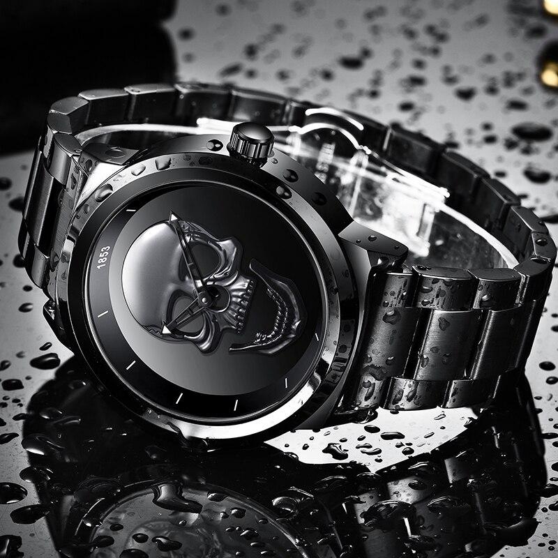 Skull Full Steel Waterproof Watch, by LIGE 3