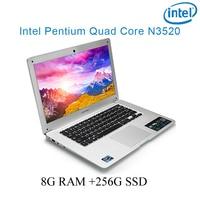 """מקלדת ושפת os זמינה 8G RAM הכסף 256G SSD אינטל פנטיום 14"""" N3520 מקלדת מחברת מחשב ניידת ושפת OS זמינה עבור לבחור (1)"""