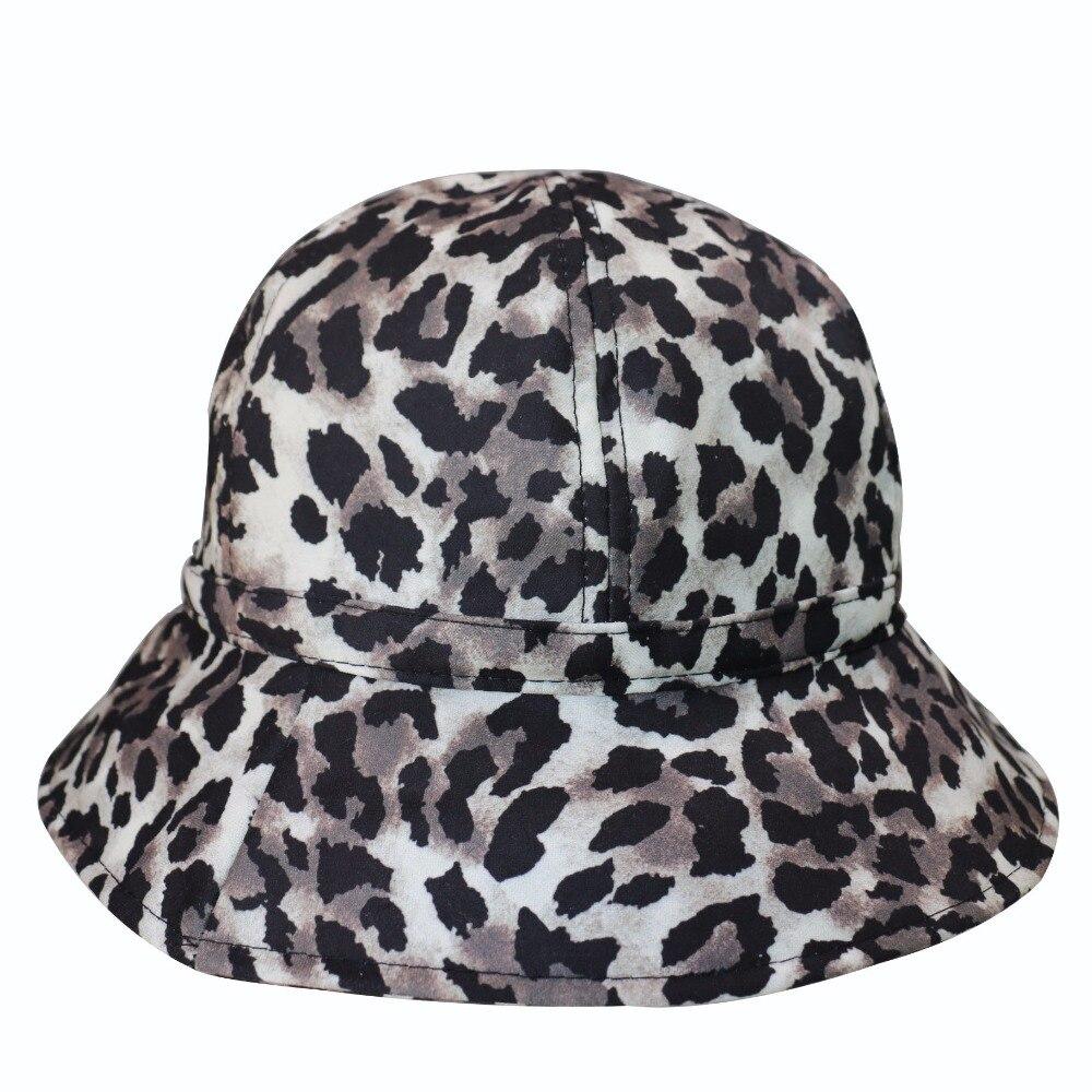 Winfox Moda Mulher Panamá Com Estampa de Leopardo Fêmea Balde Chapéu  Pescador Chapéus Bonés de Hip 7f781eb94d2