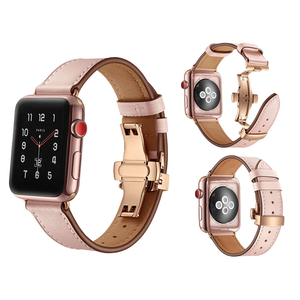 Genuine Leather Band for Apple Watch 3 42mm 38mm Stainless steel Butterfly buckle Wrist Watchband Iwatch Series 3 2 1 Strap leather for apple watch band 38mm 42mm butterfly buckle strap iwatch series 4 3 2 1 watchband replacement accessories wrist belt