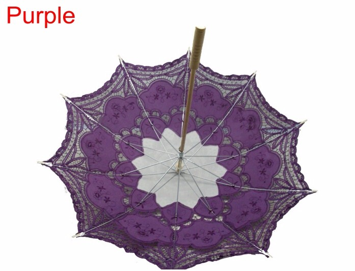 New Lace Umbrella Cotton Embroidery White/Ivory Battenburg Lace Parasol Umbrella Wedding Umbrella Decorations Free Shipping 28