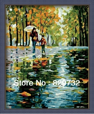 JIUJIU DIY digital oil painting Free shipping picture unique gift decoration 40X50cm Love rain Road paint by number