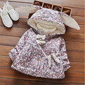 2016 winter baby girl clothing cute print long sleeve outerwear newborn bowknot ear hooded coat