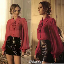 100% silk blouse and leather skirt two piece set,amazing conjunto feminino short e blusa,blusas top and slim faux leather skirt
