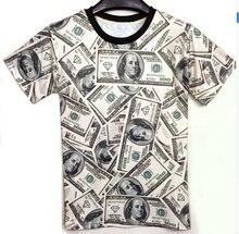 New arrive! 2016 fashion men/women's summer t-shirts 3d novelty print money dollar funny top clothing tees tshirt size M-XXL