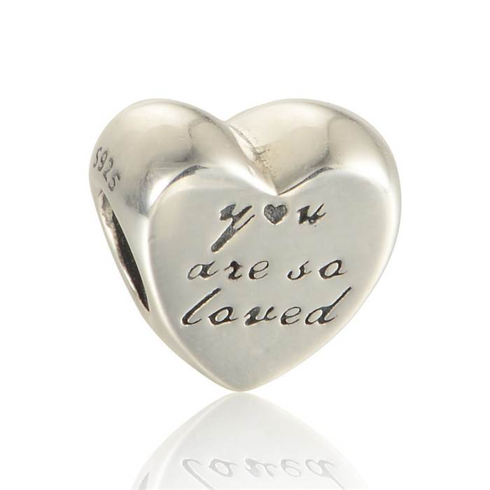 New You Are So Loved Heart Charms Original 925 Sterling Silver Fine Jewelry Suitable for Pandora Charm Bracelets & Necklaces