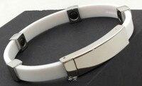 Новое поступление 2000cc отрицательных ионов браслет нержавеющая сталь резиновый браслет энергии четыре магнитные шарики баланс браслет