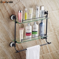 2018 New Bathroom Shelves Corner 2 Tier Tempered Glass Shelves for Home Decorations Bathroom Accessories Wall Mount SY 096R