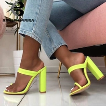 BONJOMARISA New INS Hot Bright Colored Mules Women Summer 2019 Large Size 35-42 High Heels Slippers Casual Shoes Woman
