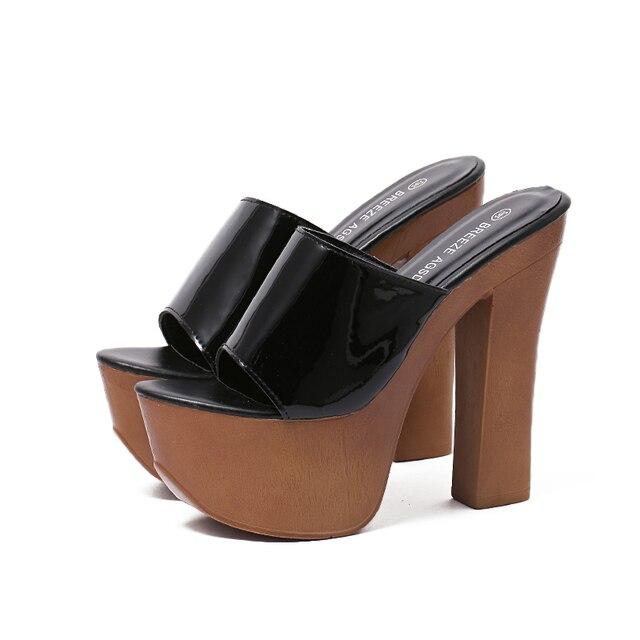 Delle donne Sandalo Piattaforme Scarpe 14 cm Tacco Alto Infradito Zoccoli Della  Piattaforma Scarpe di Moda 20ffe1d52bc