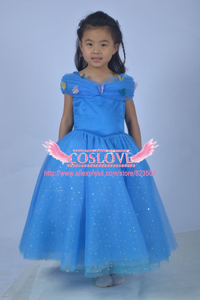 2017 Kid Blue Princess Cinderella suknelė Cosplay kostiumas Party - Karnavaliniai kostiumai - Nuotrauka 2