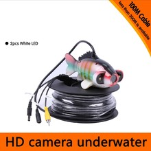 Free Shipping For DHL 100Meters Depth Fish Like Underwater Camera with 2PCS 2 walt white LEDS