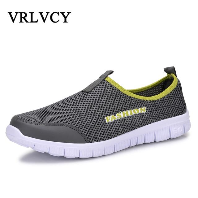 Moda Verão Sapatos Casuais Homens Sapatos de Malha de Ar Respirável Leve Slip-On Flats Chaussure Homme Tamanhos Grandes 38-46 Atacado