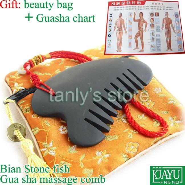 Wholesale & Retail Black Bian Stone Massage Guasha Comb health (90x55mm) цена