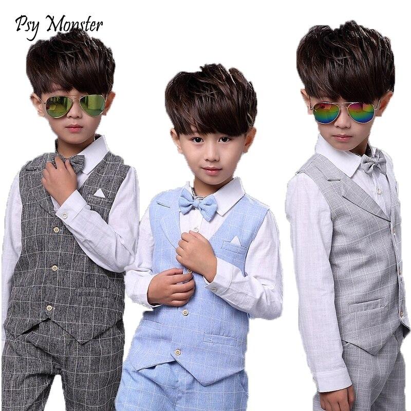 51d2b8809 Crianças define para Meninos Ternos Formais Vestido de Festa de Casamento  de Aniversário Camisa Cavalheiro Colete Colete Calças Estilo Coreano  Crianças ...
