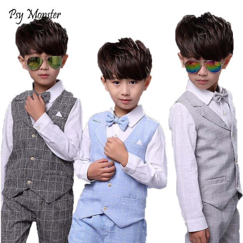 Kids sets for Boys Formal Suits Birthday Wedding Party Dress Shirt Gentleman Waistcoat Vest Pants Korean Style Children Clothes