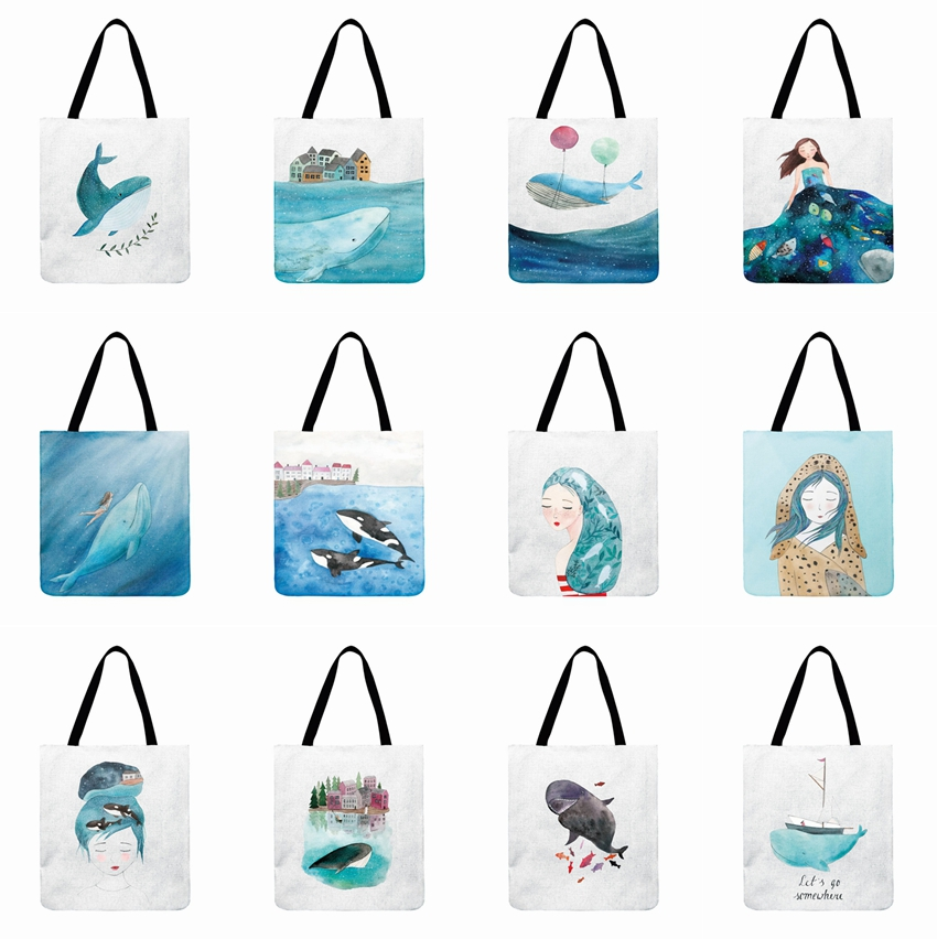 Ladies Shoulder Bag Whale Ocean Printed Tote Bag For Women Outdoor Beach Bag Foldable Shopping Bag Daily Hand Bag