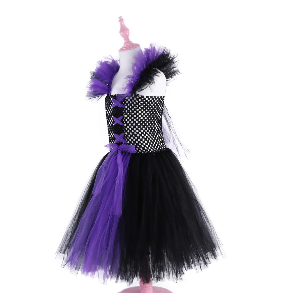Image 5 - Maleficent Evil Queen Girls Tutu Dress Tulle Children Kids Party Dresses for Girls Carnival Halloween Witch Cosplay Costume-in Dresses from Mother & Kids