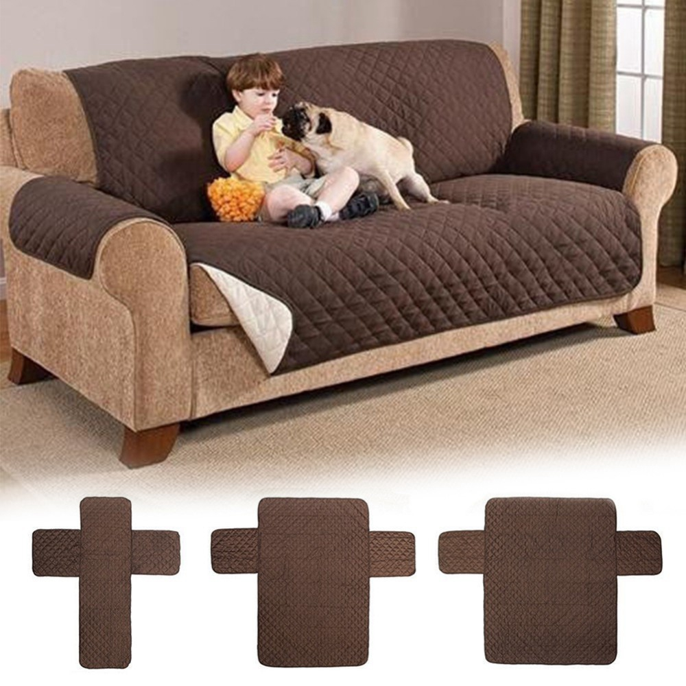 Better Design 1-Piece Stripes Couch Slipcover Home Queen Stretch Non-Slip Sofa Covers Sofa, Brown Living Room Furniture Covers for Dogs Pets Kids
