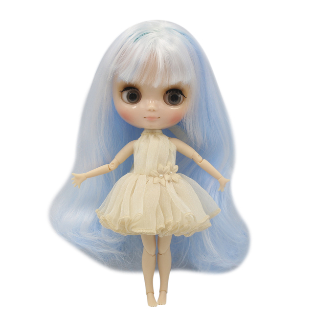 ICY nude middie blyth doll Baby blue mix white hair transparent face joint body No.136/6005 Neo BJD toy gift