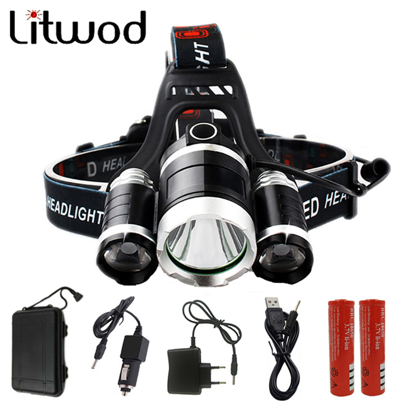 LED Headlight 9000 Lumen Chips 3x XM-L T6 LED  Head Lamp Flashlight Lanterna 4 Switch Model Led Headlamp Choose For Camping