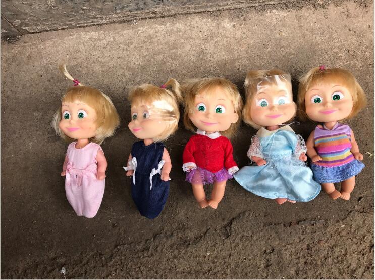 10PCS/lot Lovely Cartoon Doll Pvc Baby Doll Masha 10CM Kids Toys Hobbly Collection Birthday Gift Heavy Home Decoration