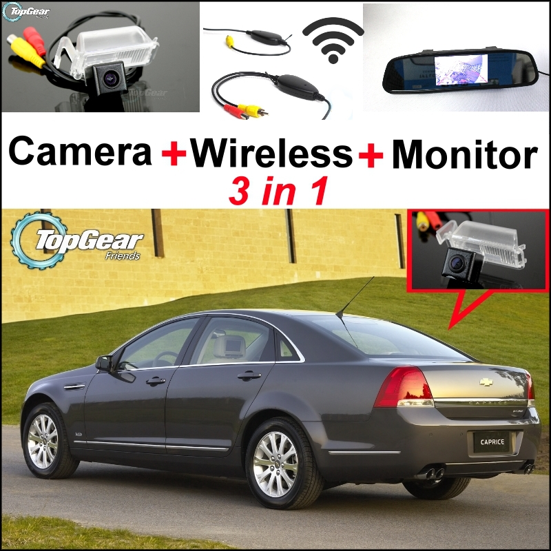 Mirror Monitor Easy DIY Backup Parking System + 3 in1 Special WiFi Camera + Wireless Receiver For Chevrolet Caprice 2007~2012 wireless pager system 433 92mhz wireless restaurant table buzzer with monitor and watch receiver 3 display 42 call button