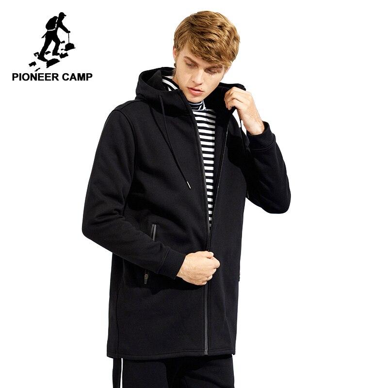 Пионерский лагерь весеняя длинная флисовая куртка пальто брендовая мужская одежда одноцветная черная мужская куртка с капюшоном высокое к...