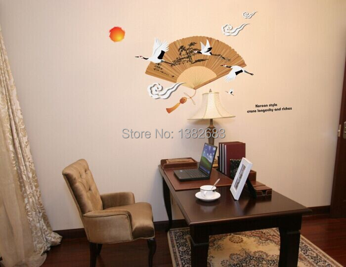 Crane In Cloud Folding Fan Red Sun Wall Stickers Chinese Style Parlor Living Room Sofa Background