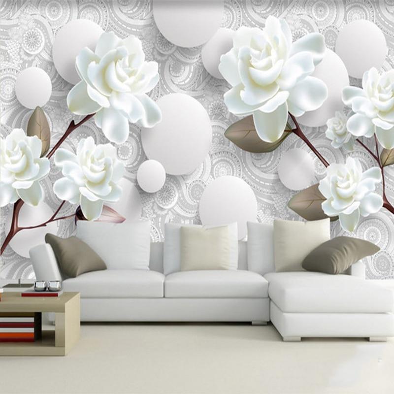 Custom Mural Modern Simple 3D Stereo White Peony Flower Wallpaper Living Room TV Backdrop Home Decor Wall Cloth Papel De Parede