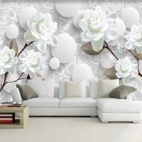 Mural personalizado Simple y moderna, 3D, estéreo, blanco, flor De peonía, Papel tapiz para sala De estar, TV, fondo, decoración De pared para el hogar, Papel De pared