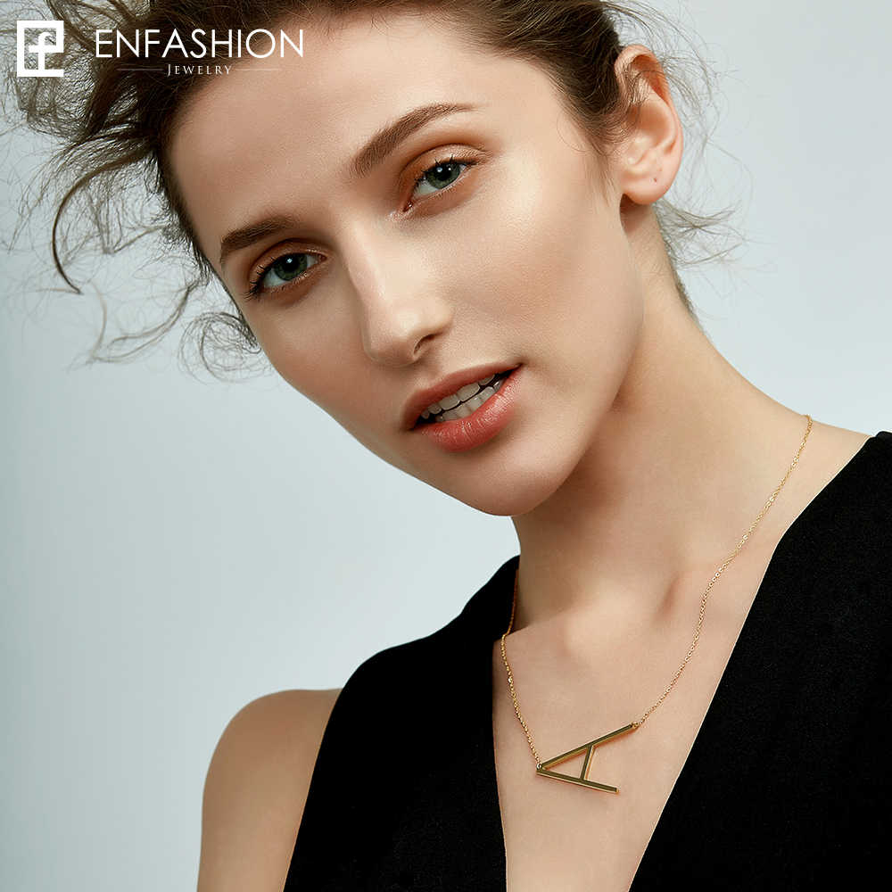 EnFashion Letter Necklaces Alphabet Initial Pendants Necklace Gold Color Stainless Steel Choker Necklace for Women Jewelry