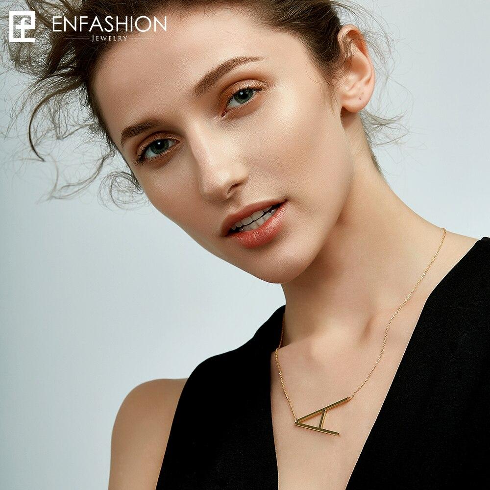 Carta de moda pingente de colar feminino inicial colar 24 K banhado a ouro alfabeto colar colar mulheres de aço inoxidável jóias