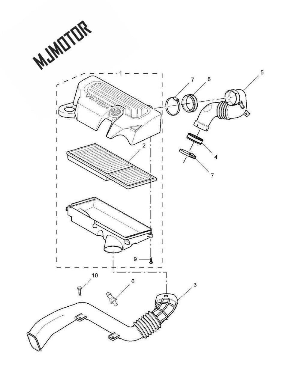 Tuyau d'admission en caoutchouc de filtre à Air pour les pièces de moteur de voiture automatique SAIC ROEWE MG3 chinois 10142588 - 6