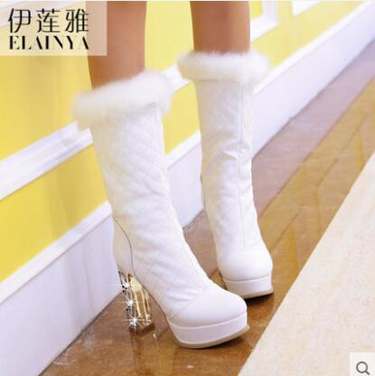 191d9b12a19 LANSHITINA women sexy glitter boots mid calf boots clear heel winter ...