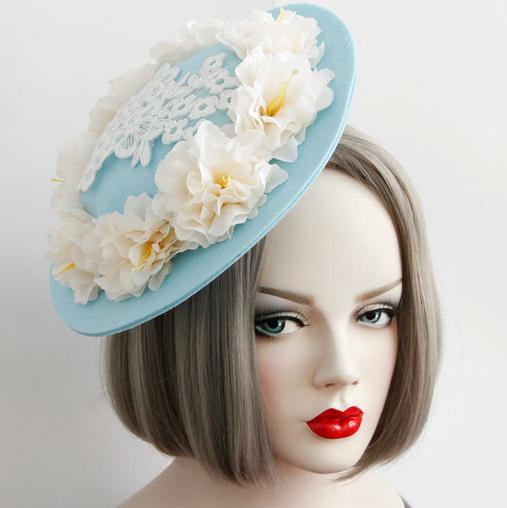 New Women Flowers Hair Accessories Fascinators Hair Clip Goth Ladies Wedding Party Fascinator Felt Hats