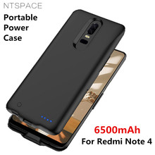 NTSPACE Battery Charger Case For Xiaomi Redmi Note 4 Power 6500mAh Bank Charging Cover External Battey Powerbank